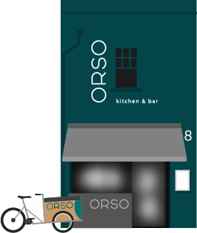 Stylised image of the exterior of ORSO restaurant in Cork